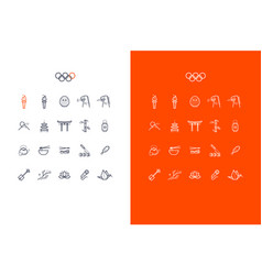 japanese line art icons set for tokyo 2020 summer vector image