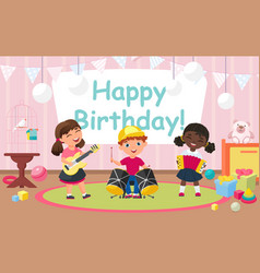 kids celebrate birthday party friends play fun vector image