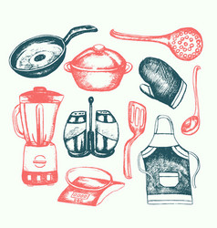 Kitchen ware - of vintage vector