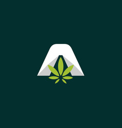 letter a with leaf cannabis business logo vector image