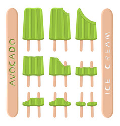 Logo for natural avocado ice cream vector