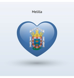 Love Melilla symbol Heart flag icon vector image