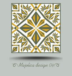 Majolica ceramic tile in nostalgic ocher and olive vector