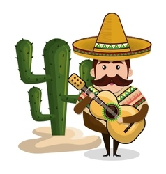 man mexican with guitar and cactus graphic vector image