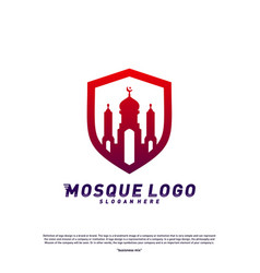 Mosque with shield logo design conceptreligion vector