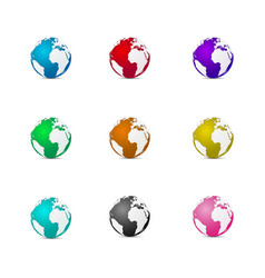 multi-color 3d earth vector image