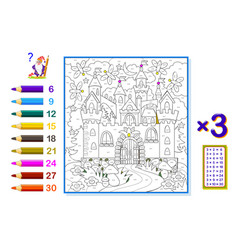 multiplication table 3 for kids math education vector image