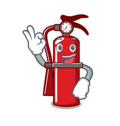 Okay fire extinguisher character cartoon vector