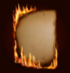 old burning paper burn parchment torn page vector image