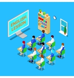 Online Education Concept Isometric Classroom vector