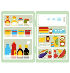 Open fridge with food vector