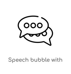 Outline speech bubble with ellipsis icon isolated vector