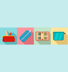 Pencil case icon set flat style vector