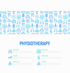 Physiotherapy concept with thin line icons vector