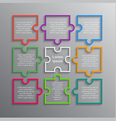puzzle infographics rectangle 9 steps puzzle vector image
