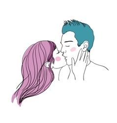 Romantic kiss loving couple vector
