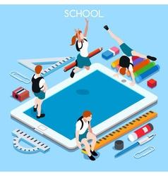 School Devices 03 People Isometric vector