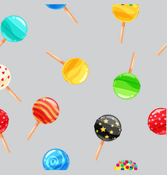 seamless pattern colored candy lollipop caramel vector image