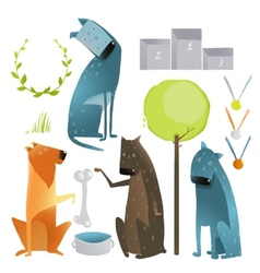 Set of cartoon dogs and competition items vector