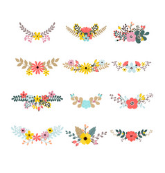 set of floral bouquets for decoration floral vector image