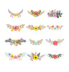 Set of floral bouquets for decoration floral vector
