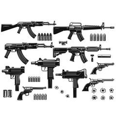 Set of of weapon assault rifle uzi revolvers vector