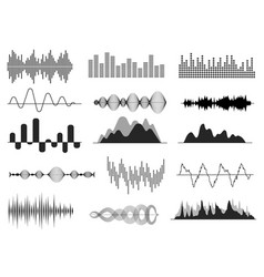 Sound waves music wave audio frequency waveform vector