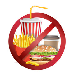 Stop fast food no food or drinks allowed vector