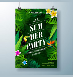 summer party flyer design with flower tropical vector image
