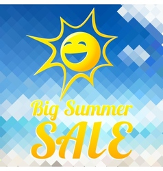 Summer sale design template with smiling sun vector image