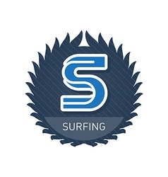 Surfing - Sports and Recreation Label or heraldic vector image