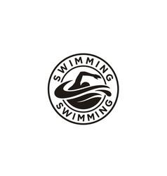 swimming sport stamp sticker emblem label logo vector image