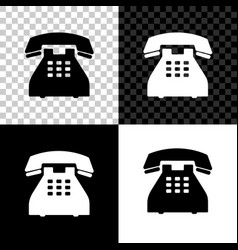 telephone icon isolated on black white and vector image