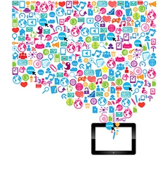 Template design digital tablet idea with social ne vector