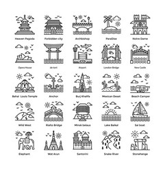 Tourism line pack vector