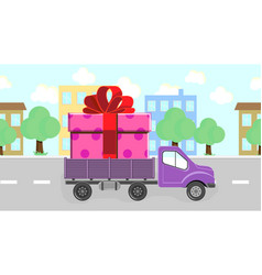 Truck carries a gift rides around town vector