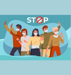 Turquoise banner with people in medical masks call vector