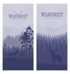 vertical abstract banners wild deer in forest vector image
