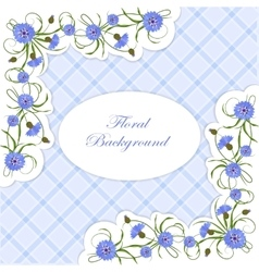Vintage card with cornflowers and leaves vector