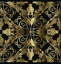 vintage gold ornamental damask seamless pattern vector image