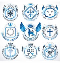 vintage heraldic coat of arms designed in award vector image