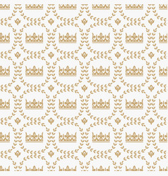 vintage seamless pattern with medieval royal crown vector image