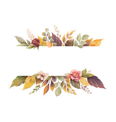 Watercolor autumn banner with roses vector