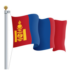 Waving mongolia flag isolated on a white vector