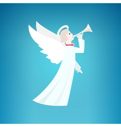 White Christmas Angel on a Blue Background vector