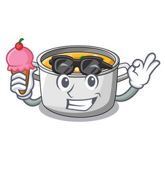 With ice cream cartoon chicken soup pot for dinner vector