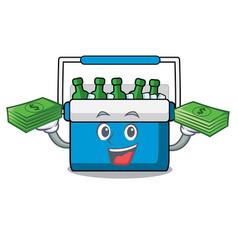 With money bag freezer bag mascot cartoon vector