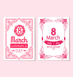 womens day postcard with big sign and swirly frame vector image