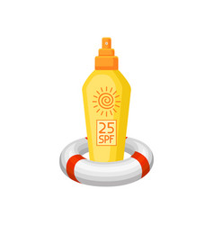 Yellow plastic bottle of sunscreen and inflatable vector