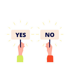 Yes no banner choice vote icons businessman vector